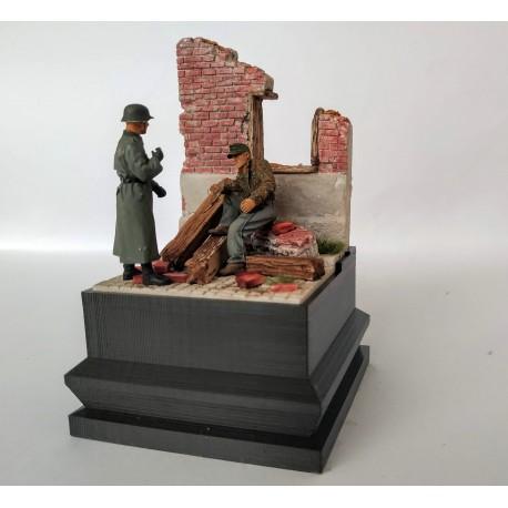 Viněta s ruinou domu (barvená)